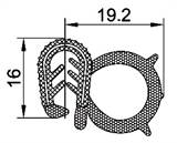 SEALING SECTION 4.0.-6.0 mm, 19.2 mm bulb on side (3x25 m)