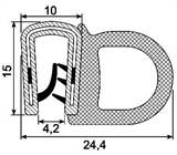 SEALING SECTION 2.0-4.0 mm ,14.4 mm bulb on side  (25 m)